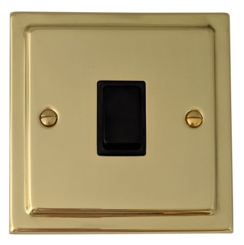 G&H TB5B Trimline Plate Polished Brass 1 Gang Intermediate Rocker Light Switch